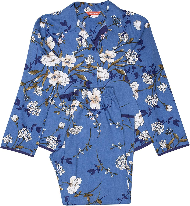Minijammies 5529 Girls Heather Blue Floral Print Cotton Woven Pyjama Set