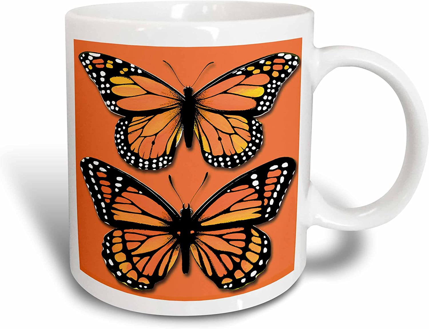 3dRose Two Colorful Monarch Butterflies On A Matching Orange Background Ceramic Mug, 11 oz, White