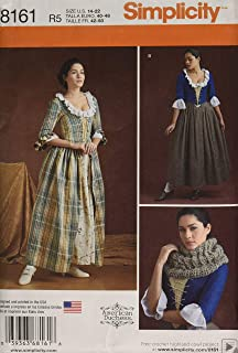 product image for Simplicity 8161 Women's 18th Century Dress Historical Costume Sewing Pattern, Sizes 14-22