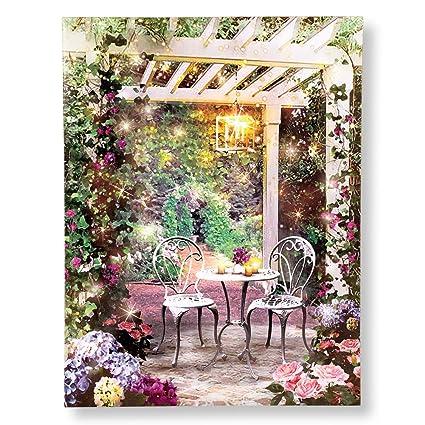 Collections Etc English Garden Pergola U0026 Bistro Table Scene Lighted  Canvas Wall Art