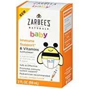 Zarbee's Naturals Baby Immune Support* & Vitamins Supplement with a Special Blend of Vitamins, Zinc, and Agave, Natural Orange Flavor, 2 Ounce Bottle