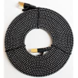 Tera Grand - CAT7 10 Gigabit Ethernet Ultra Flat Patch Cable for Modem Router LAN Network - Built with Gold Plated & Shielded RJ45 Connectors and Nylon Braided Jacket, 12 Feet Black & White