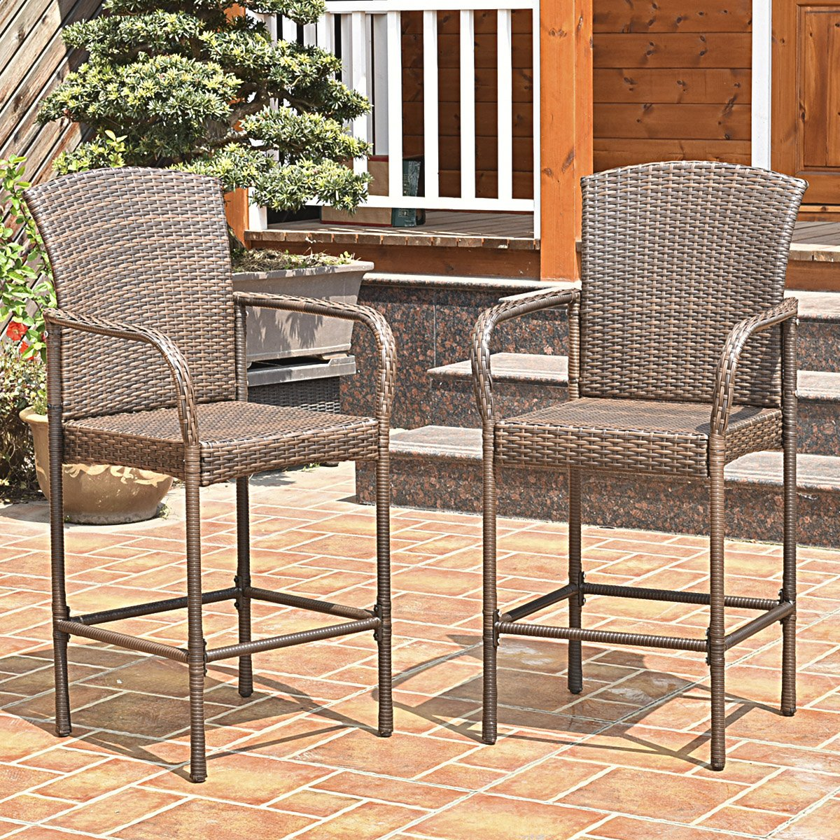 Costway Rattan Wicker Bar Stool Outdoor Backyard Chair Patio Furniture With Armrest Set of 2