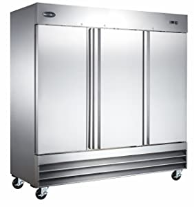 "Heavy Duty Commercial Stainless Steel Reach-In Freezer (72"" Three Solid Doors)"