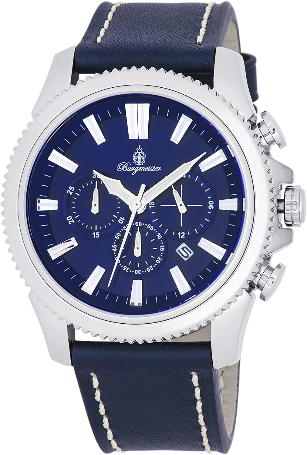 Burgmeister Men s Stainless Steel Quartz Watch with Leather Calfskin Strap, Blue, 23 Model BMT03-133