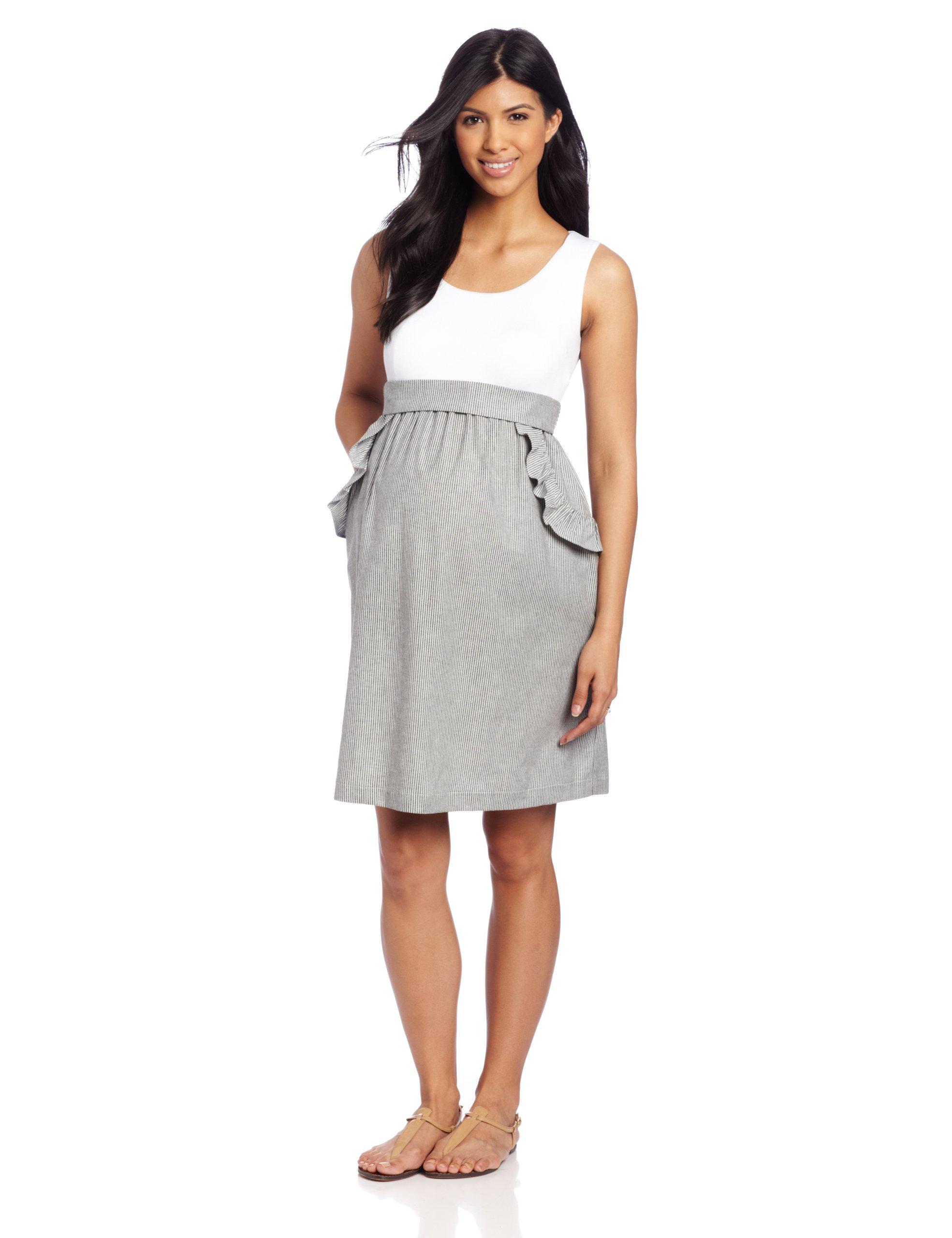 Maternal America Women's Maternity Ruffle Pocket Dress, White/Black Seersucker, Small