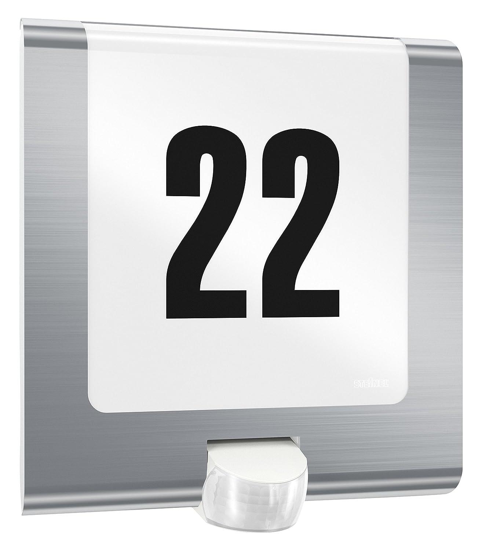 Steinel Außenleuchte L 220 LED Edelstahl, mit Hausnummer, 7.5 W, 180° Bewegungsmelder, max. 10 m Reichweite, schlagfest 180° Bewegungsmelder 010454