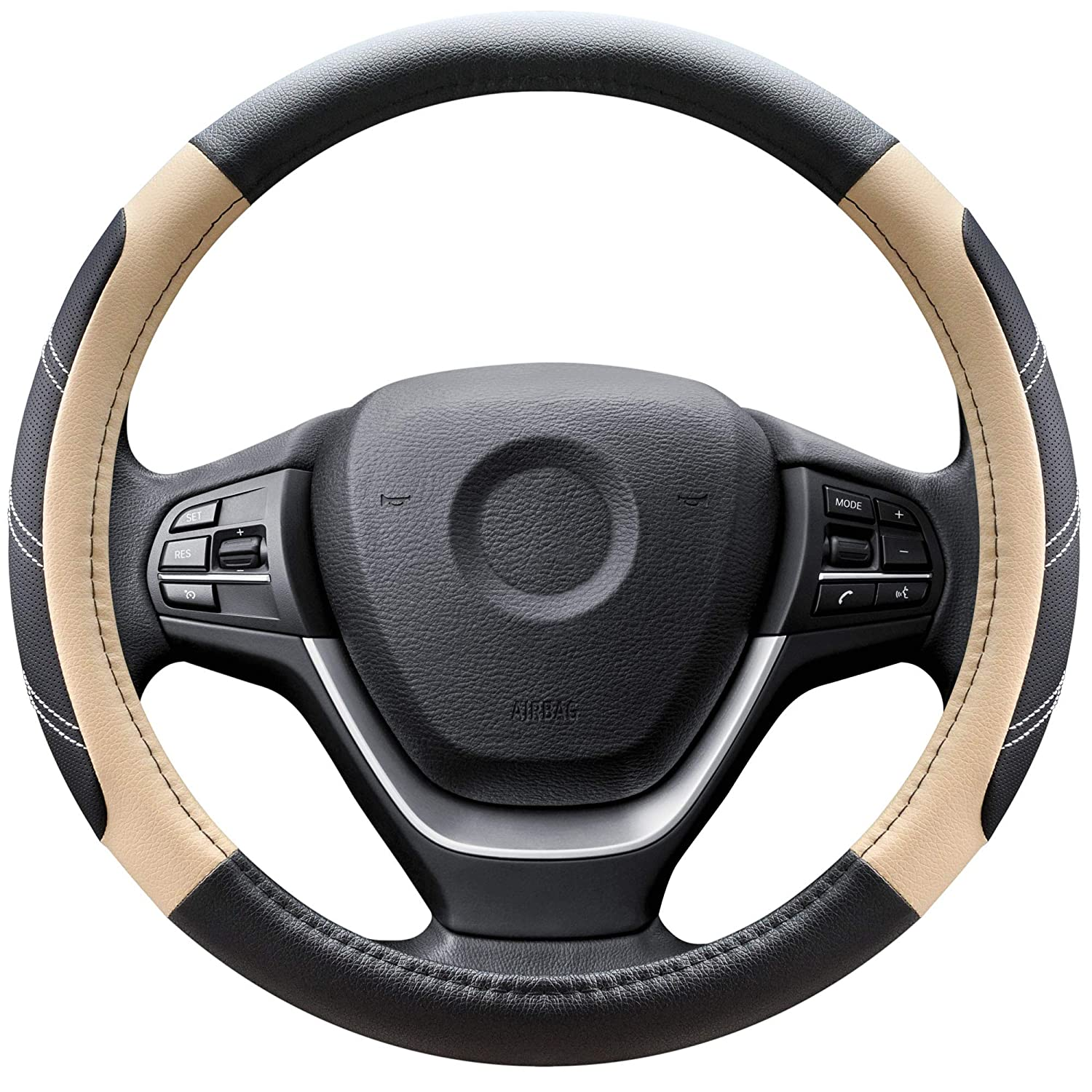 Elantrip Leather Steering Wheel Cover 15 1//2 to 16 inch Universal Large Soft Grip Breathable for Car Truck SUV Jeep Anti Slip Black