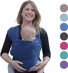 Babytragetuch für Neugeborene | Das perfekte Geschenk Sommer | Designed in Berlin & London | Tragetuch von BabyChamp (blue)