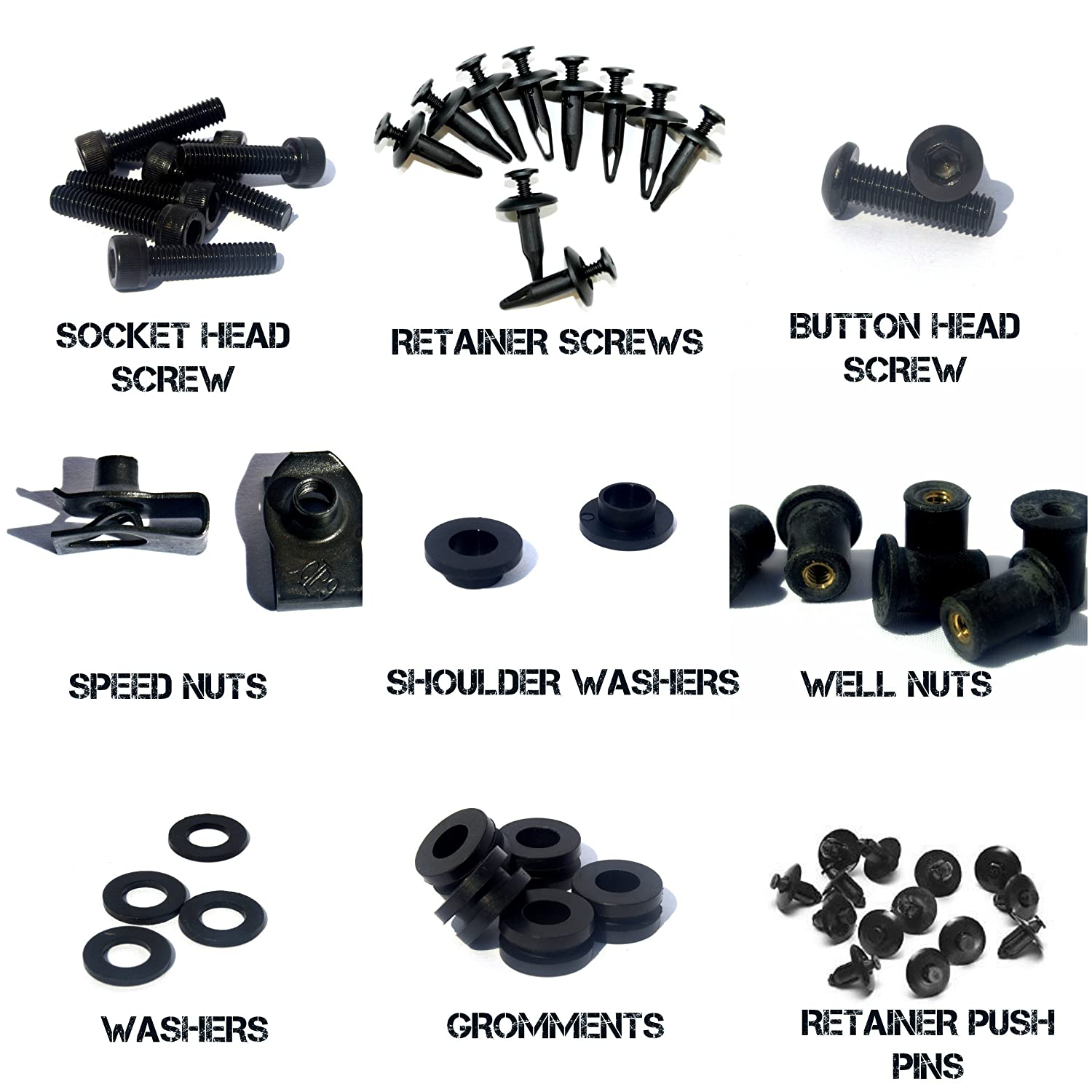 and Hardware Black Complete Motorcycle Fairing Bolt Kit For Yamaha YZF-R1 2002-2003 Body Screws Fasteners
