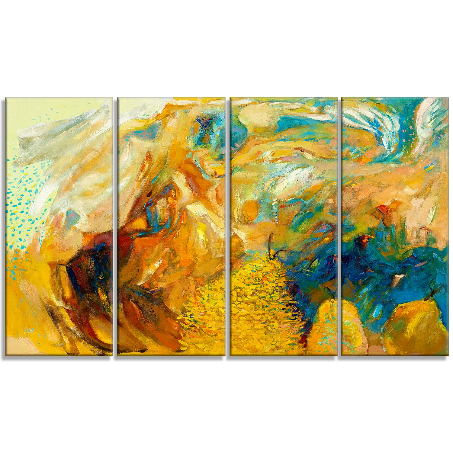 Designart Abstract Yellow Collage Large Abstract Canvas Print by Design Art