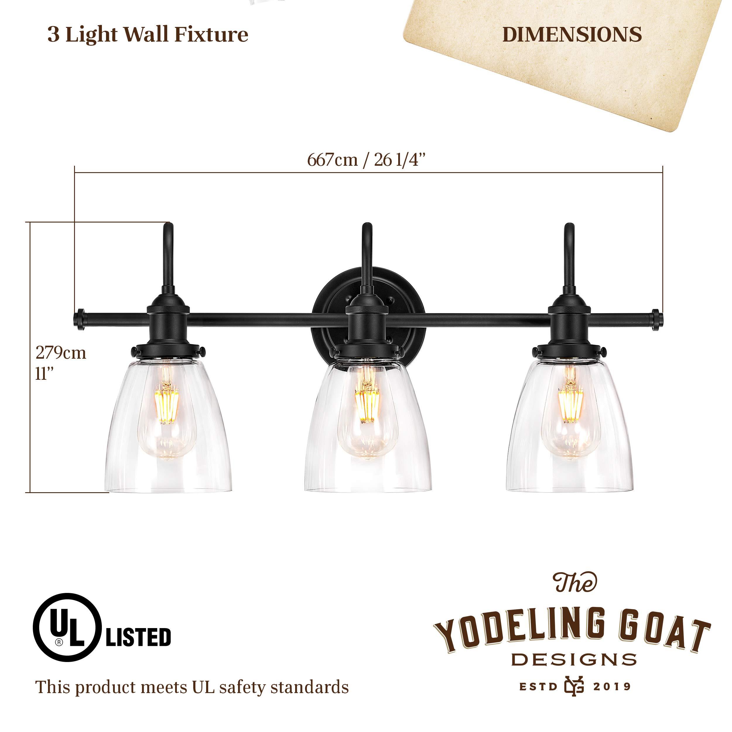 Bathroom Light Fixture - Farmhouse, Vintage, Industrial - 3 Light Bathroom Black Vanity Light Fixture by The Yodeling Goat (Image #6)