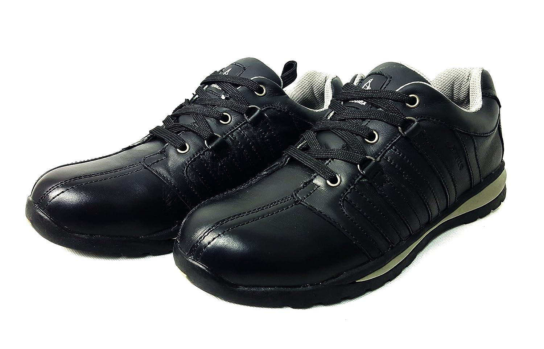 Zapatos de seguridad con puntera de acero para hombre o mujer, piel sinté tica, Black/Black, 6 piel sintética Totemic Trading