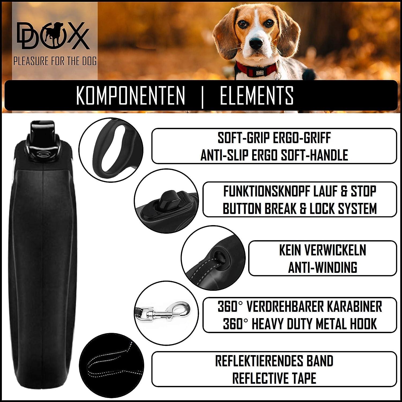 f/ür kleine /& gro/ße Hunde ausziehbar DDOXX Roll-Leine reflektierend Hundeleinen Zubeh/ör Flexi-Leine Hund viele Farben /& Gr/ö/ßen Hundeleine einziehbar Welpe Katze