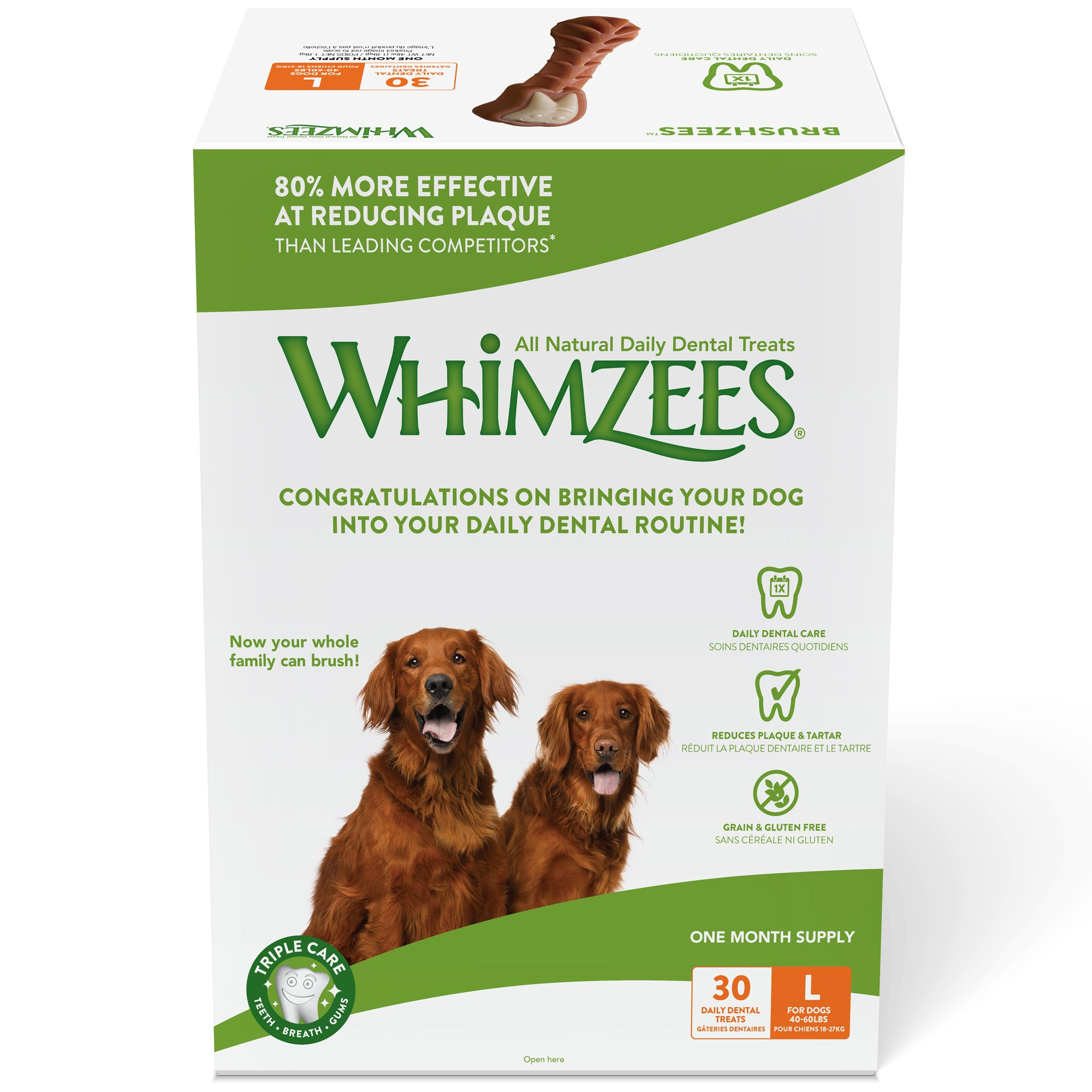 Whimzees 30 Day Pack Dog Dental Treats, Large Brushzees, Pack Of 30 by Whimzees