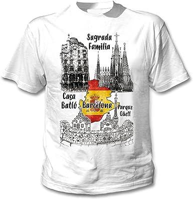 teesquare1st Barcelona Spain Camiseta Blanca para Hombre de Algodon: Amazon.es: Ropa y accesorios