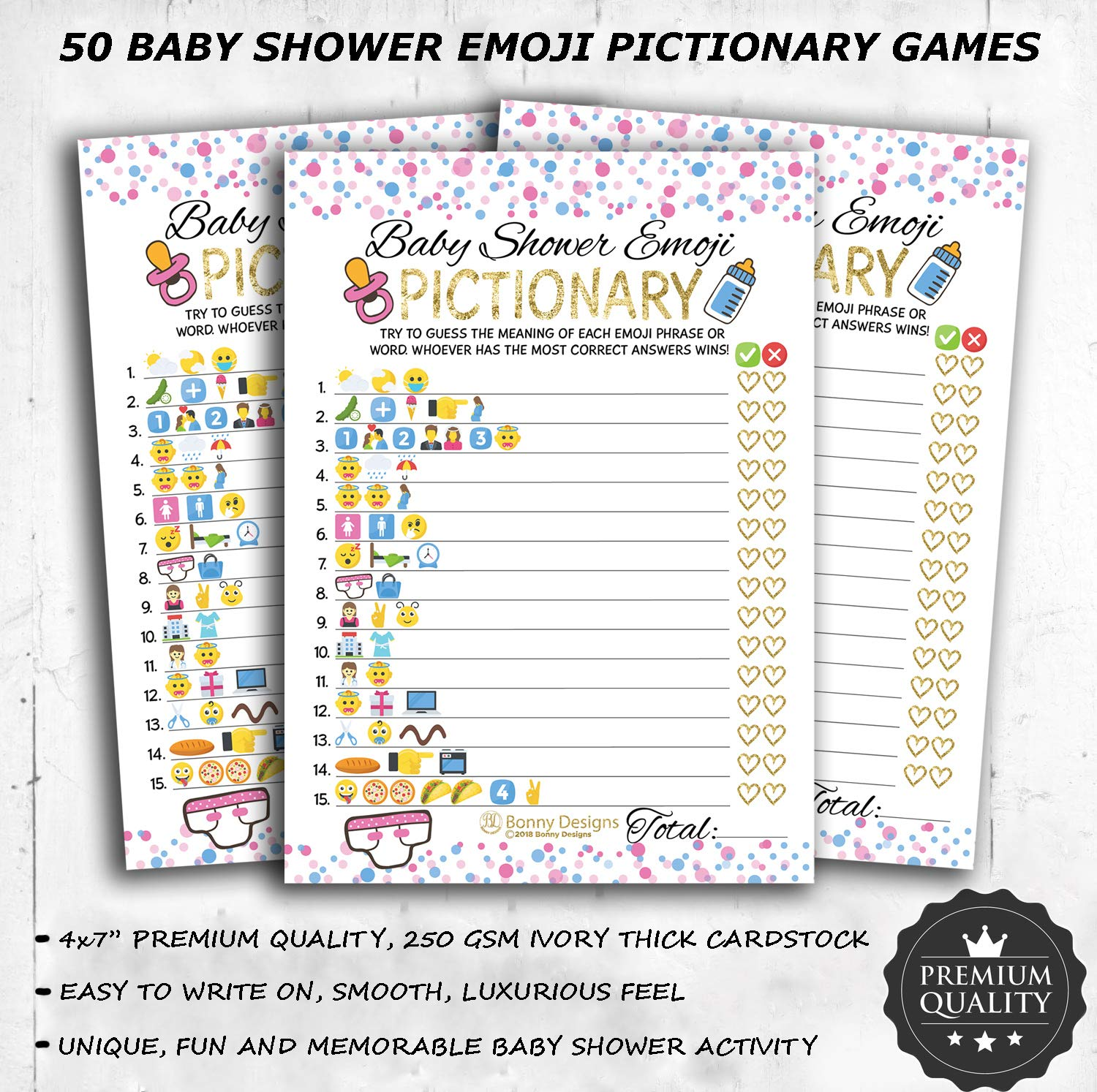Baby Shower Party Decorations Kit Unisex, Girls and Boys | Oh Baby Banner Neutral Decor | 12 Pcs Balloon Set | Glitter Unisex Pregnancy Announcement Gender Reveal Party | 50 Pcs Premium Baby Shower Emoji Game Cards by Newborn Party (Image #3)