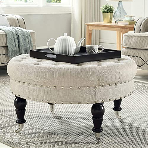 24KF Large Round Upholstered Tufted Button Linen Ottoman Coffee Table