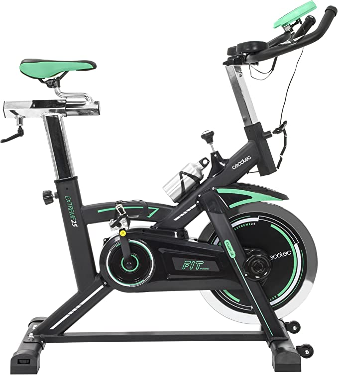 Cecotec Bicicleta Indoor Extreme 25. 25kg Volante inercia, Pulsómetro, Pantalla LCD, Resistencia Variable, Estabilizadores, SilenceFit: Amazon.es: Deportes y aire libre