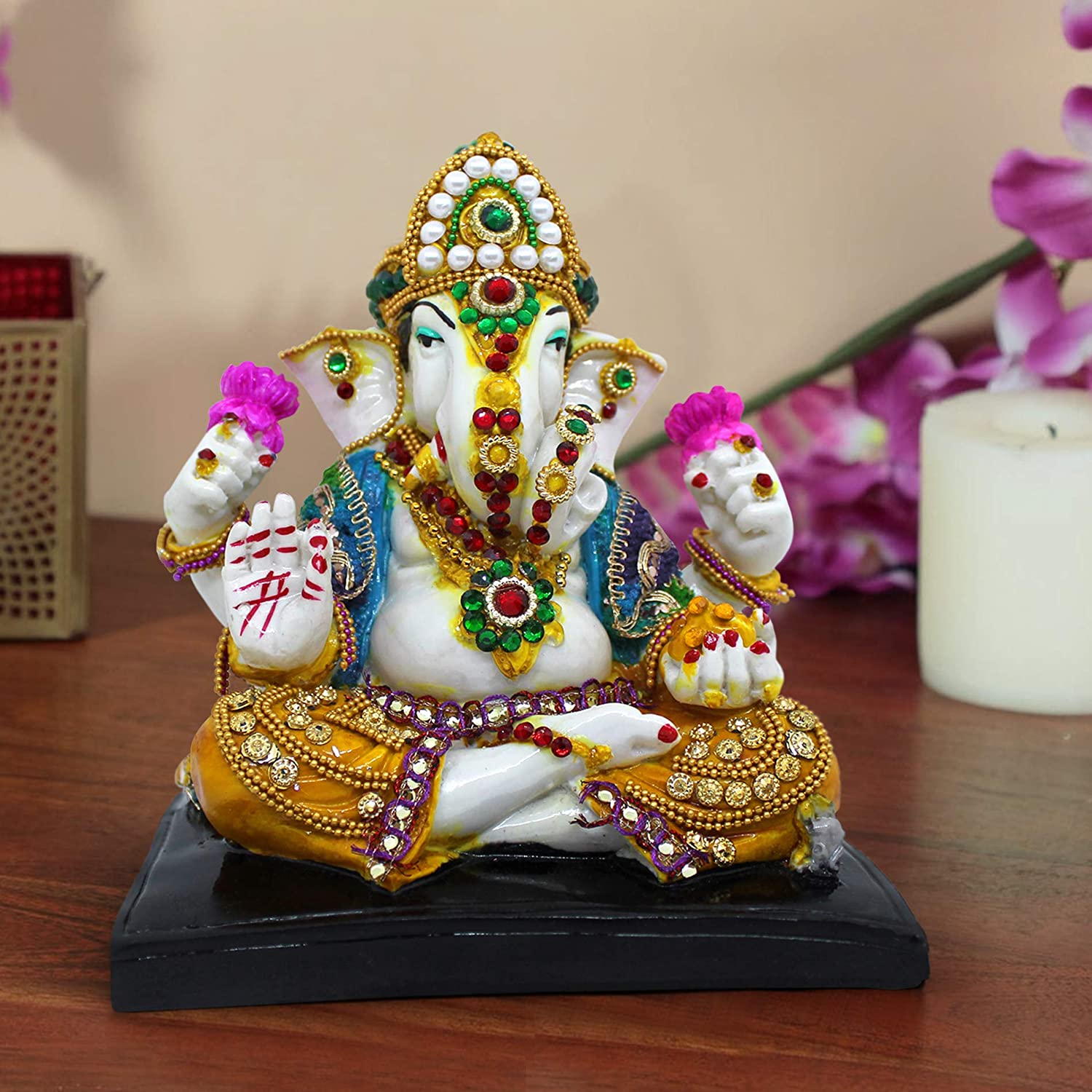TiedRibbons Ganesha Statue (30 cm X 16 cm X 9 cm, Resin) - Indian God Ganesh Figurine for Home Mandir Desktop Office Diwali Decoration and Gifts