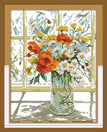 Stamped Cross Stitch Kit DIY Embroidery Pacakge 14CT Cloth Windowsill