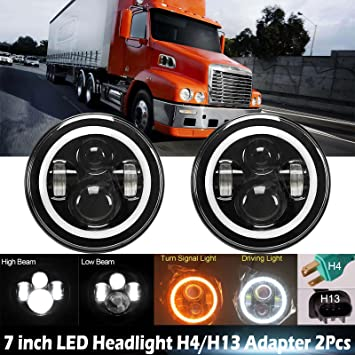 7 inch Round LED Headlight DRL High Low Driving Light For Freightliner Coronado