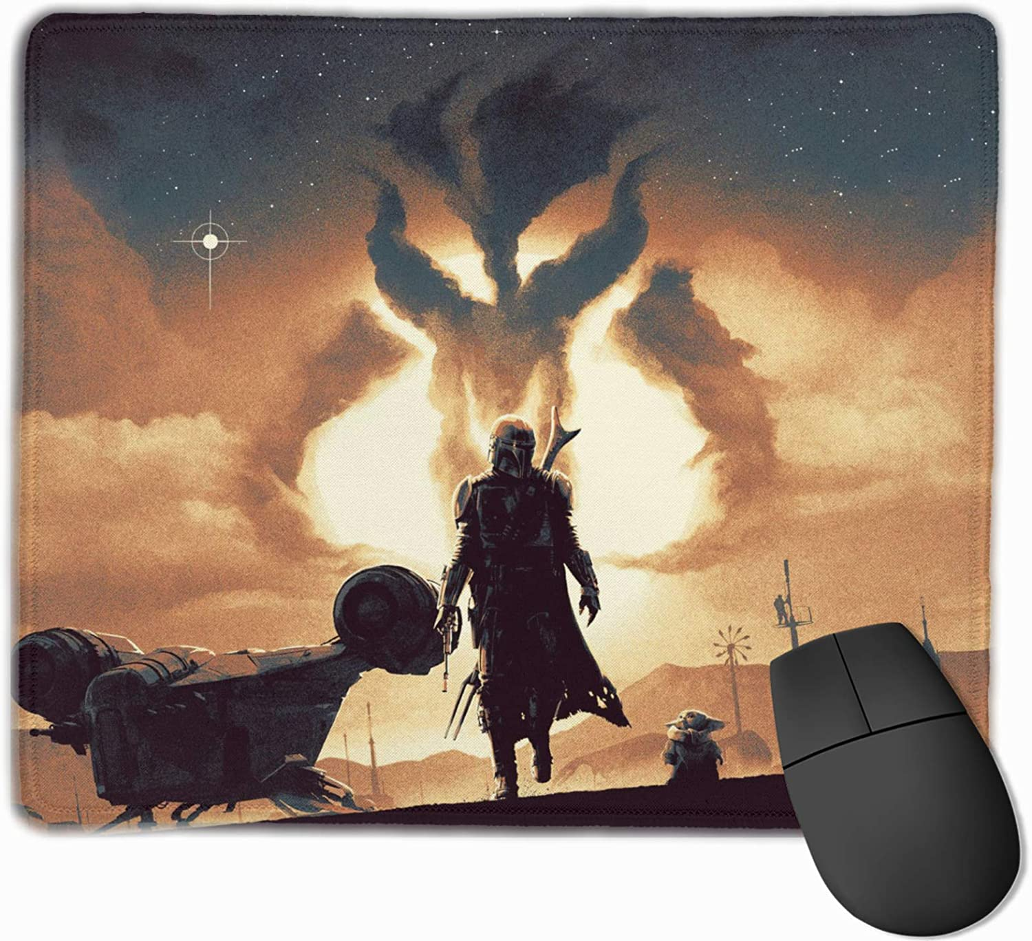 TILLIEE The Mandalorian Mouse Pad with Stitched Edge, Office & Gaming Non-Slip Rubber Base Mouse Mat for Laptop & Computer 12 X 9.8 in