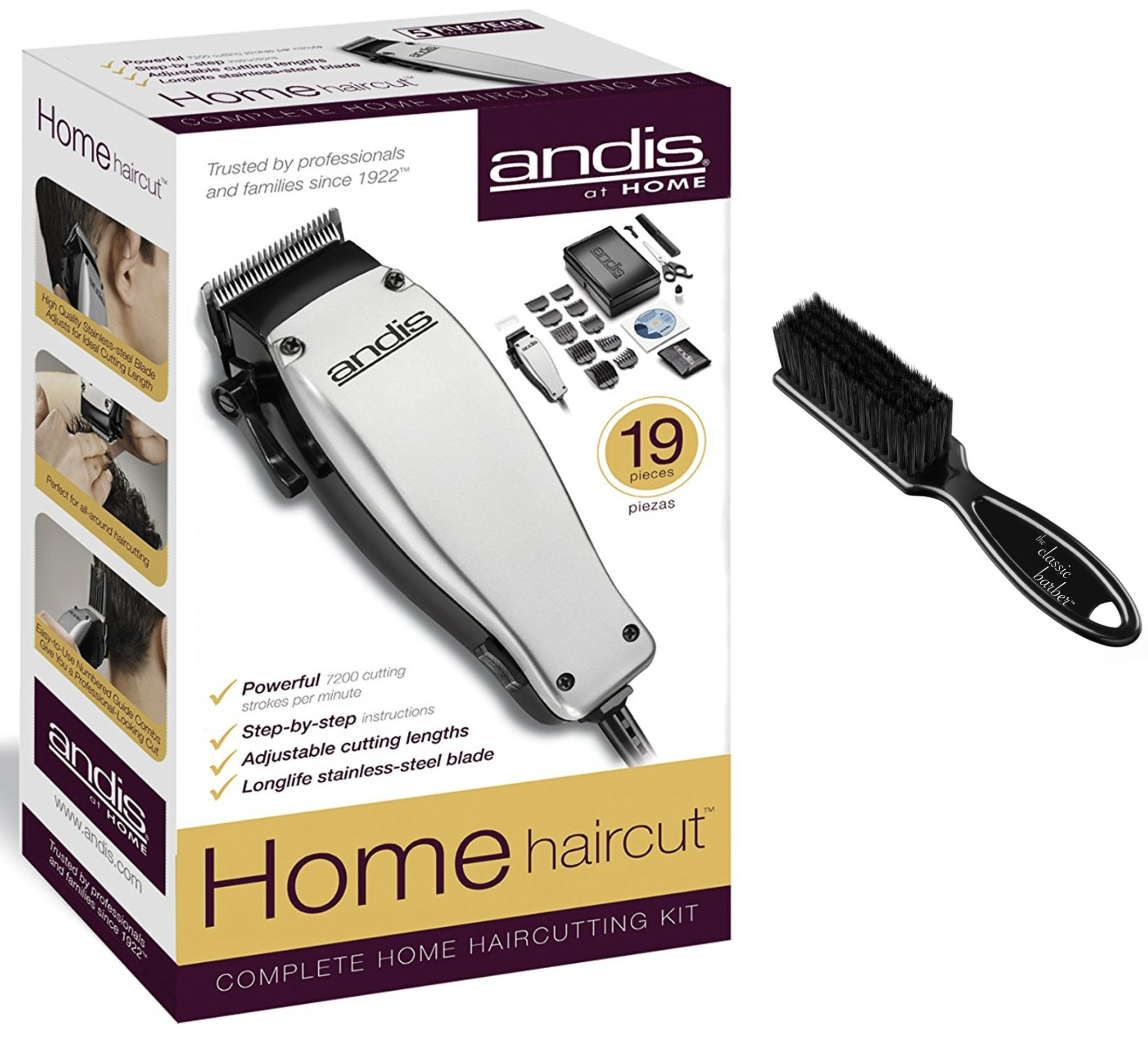 Andis 19-Piece at Home Haircutting Kit, Silver, Model MC-2 (18645) & Classic Barber Blade Brush