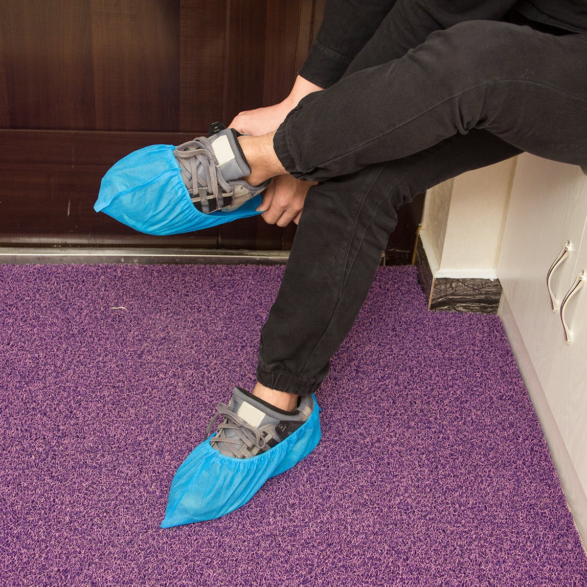 100 pcs Home Disposable Thick Boot & Shoe Cover (5g/pc) - Non-skid & Durable for Workplace, Medical, Indoor or Car Carpet Floor Protection by PAMASE (Image #3)