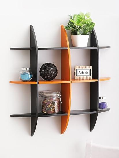 Artesia Black Orange Decorative Wooden Wall Shelf: Amazon.in: Home ...