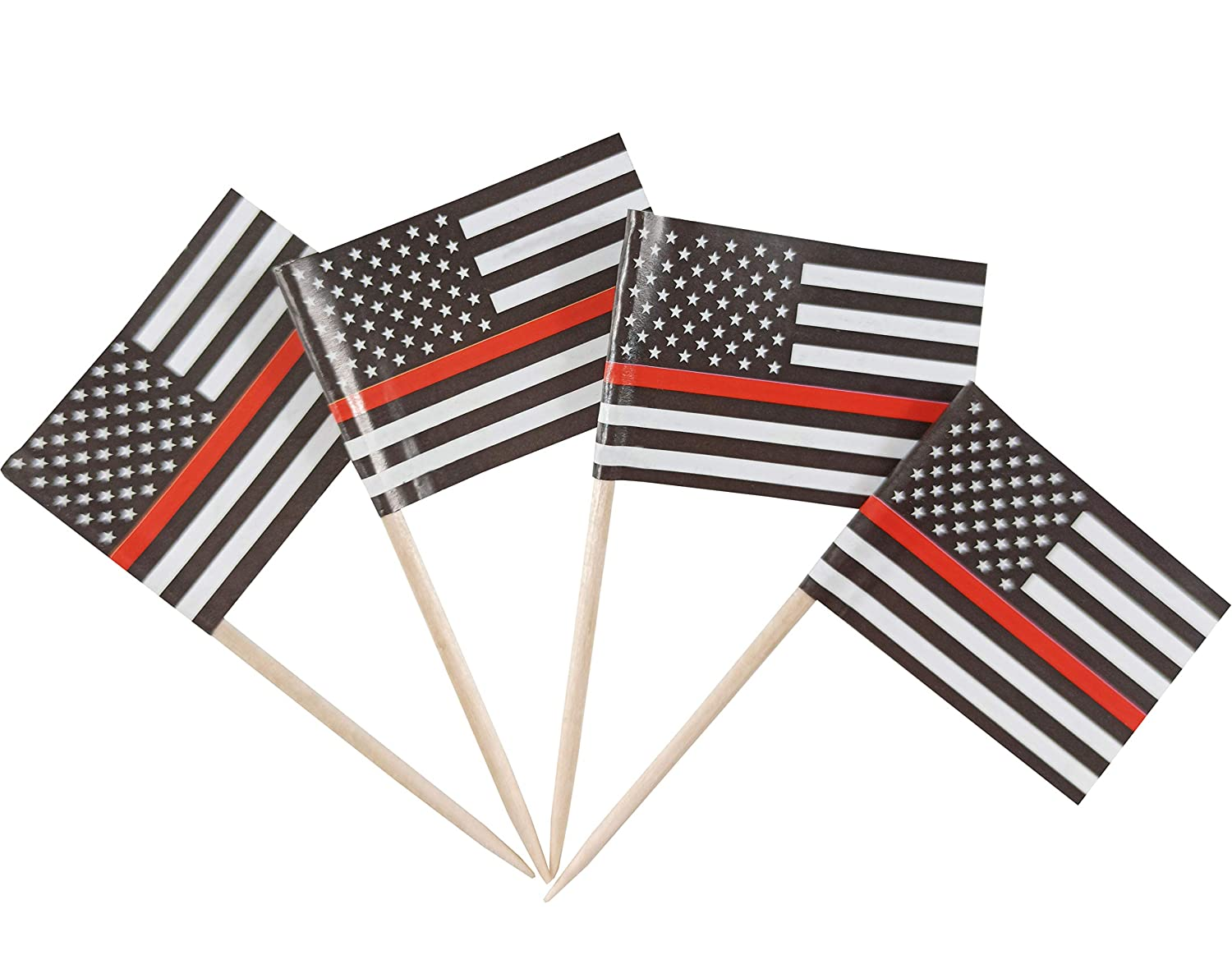 JBCD 200 Pcs US Thin Red Line Flag Toothpicks Fireman Firefighter Flags Cupcake Toppers Decorations, Cocktail Toothpick Flag Cake Topper Picks Mini Small Flag Cupcake Pick Sticks