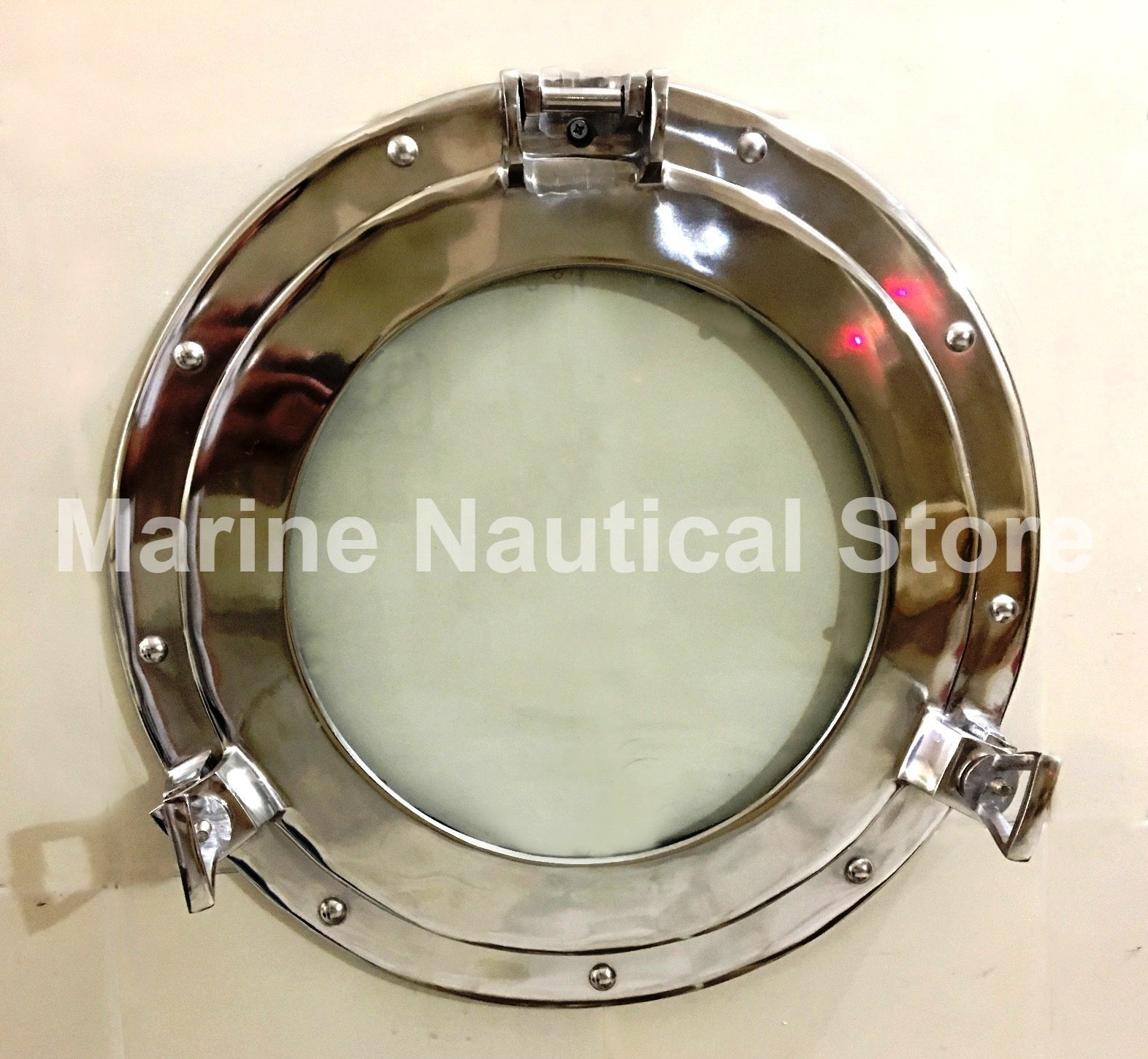 Maritime Silver 15'' Porthole Round Window Glass Nautical Boat Ship Home Decor