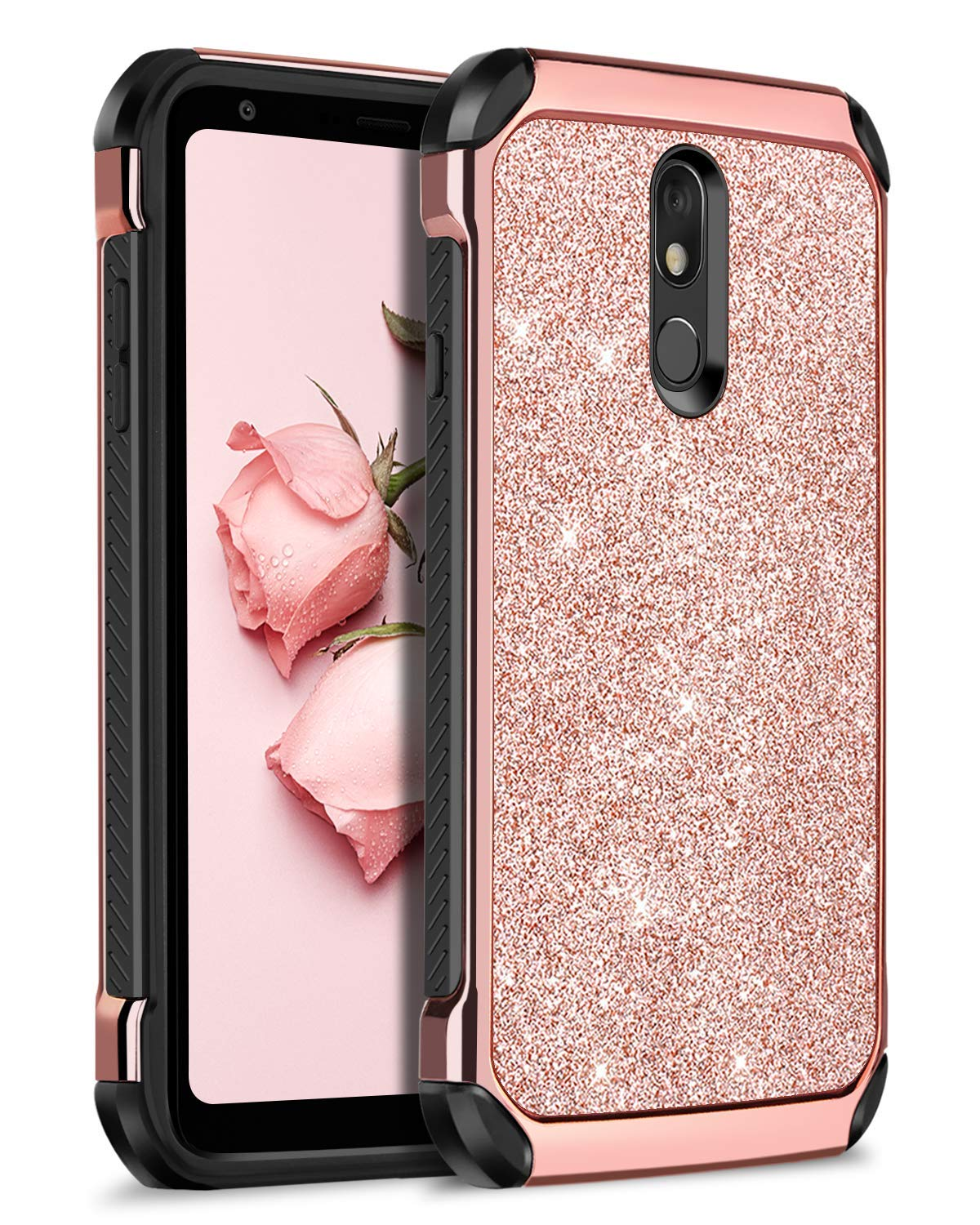 BENTOBEN LG Stylo 5 Case, 2 in 1 Hybrid Anti-Slip Soft Rubber Bumper Hard Cover Glitter Sparkle Bling Shiny Faux Leather Girls Women Rugged Shockproof Protective Phone Case for LG Stylo 5, Rose Gold