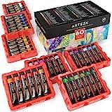ARTEZA Gouache Paint, Set of 60 Colors/Tubes (12 ml/0.4 US fl oz) Opaque Paints, Ideal for Canvas Painting, Watercolor…