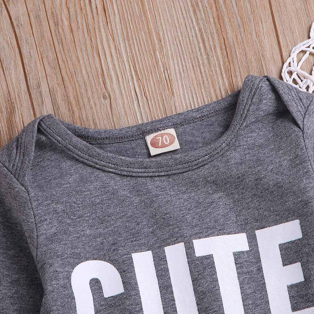 SUNBIBE Newborn Baby Girls Boys Jumpsuit O-Neck Romper Outfit Long Sleeve Letter Print Creeper Bodysuit Overall Clothes