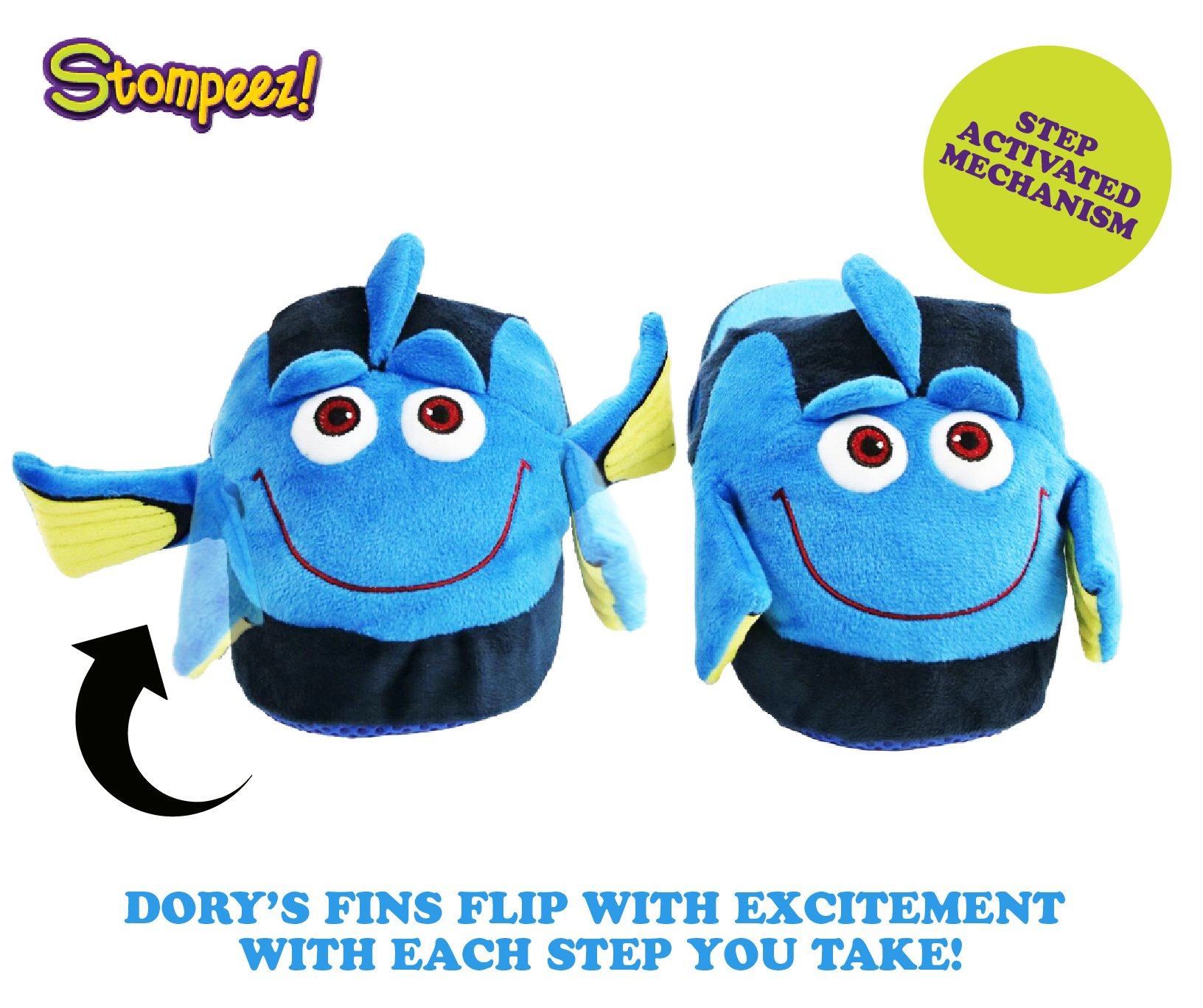 Stompeez Animated Dory Plush Slippers - Ultra Soft and Fuzzy - Fins Flap and Flutter as You Walk - Large by Stompeez (Image #2)