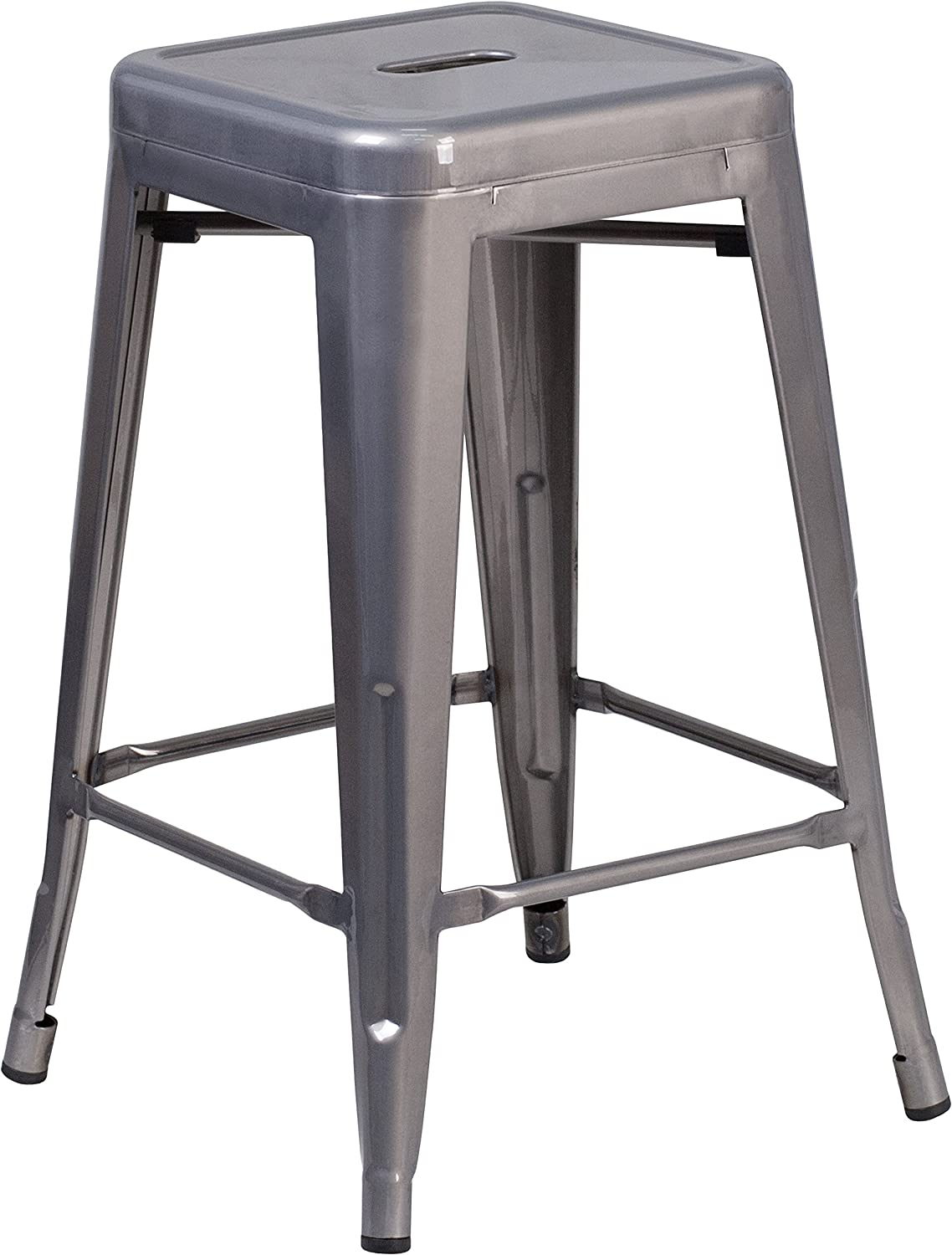 Flash Furniture 24'' High Backless Clear Coated Metal Indoor Counter Height Stool with Square Seat