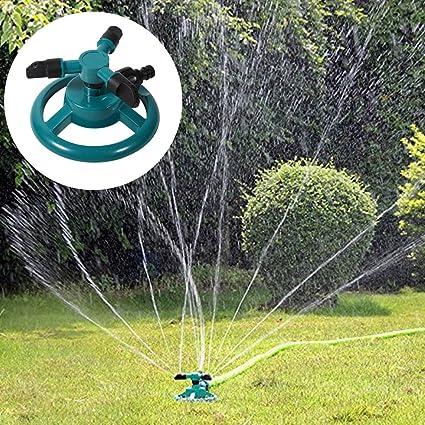 Paquete de 2 aspersores de agua, automático 360 Aspersor de jardín ajustable rotativo 3 Aspersores de césped con brazo Aspersor de rotación ABS Boquilla de riego Suministro de jardinería: Amazon.es: Hogar