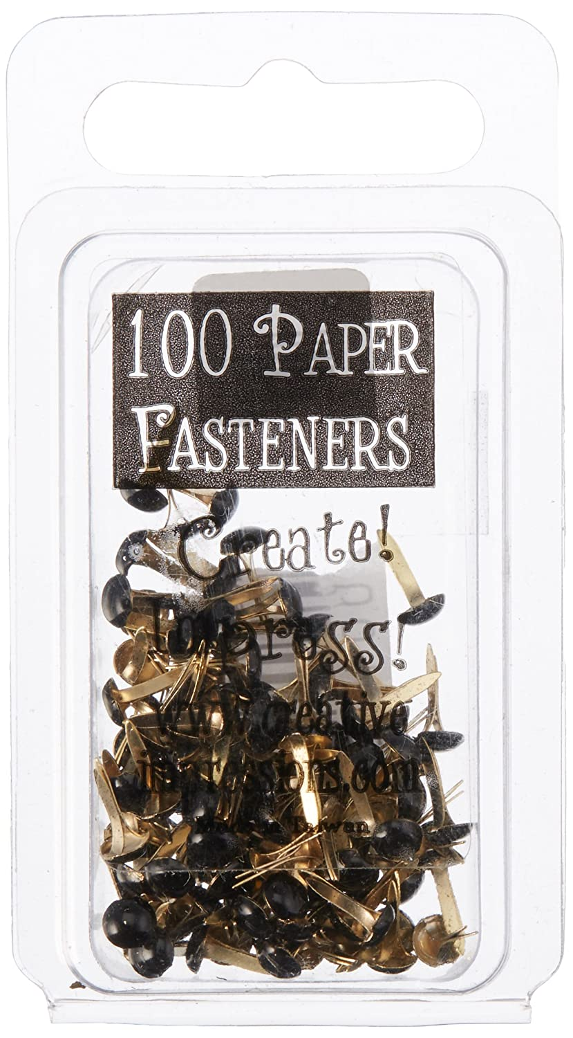 Creative Impressions Mini Painted Metal Paper Fasteners 3mm 100/Package-Round-Black 310200