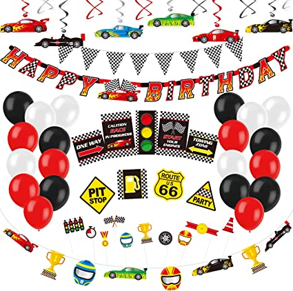 Race Car Balloon Racing Party Racecar Party 5 Checkered Flag Balloons Racing Party Decorations Party Supplies Racing Birthday