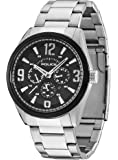 Police Men's Quartz Watch with Black Dial Chronograph Display and Silver Stainless Steel Bracelet 13894JSSB/02M