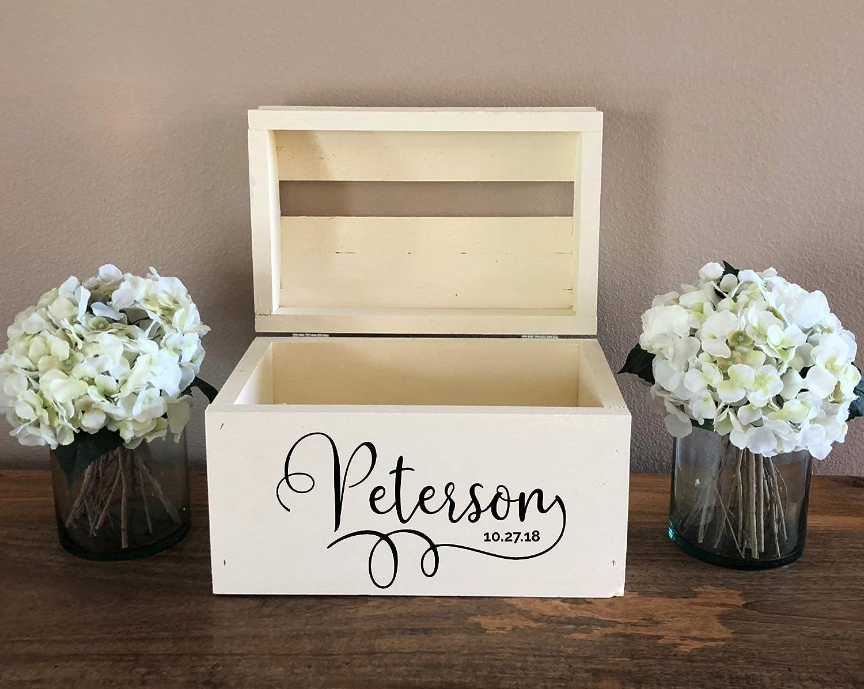 Personalized Wood Card Box Keepsake Chest