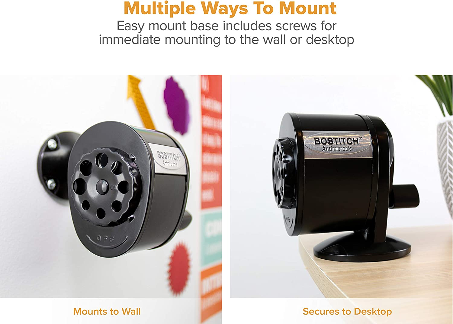 Bostitch Metal Antimicrobial Manual Pencil Sharpener, Black (MPS1-BLK) : Office Products