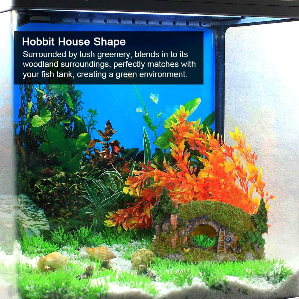 Petacc Decoración de Acuario Acuario, Decoración Creativa de acuarios de Resina Viva con Diseño de Hillside House, Cubierta de exuberante Verde, ...
