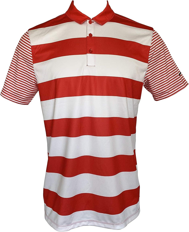 Nike Mens Dri-Fit Golf Polo Breathe Bold Stripe Short Sleeve ...