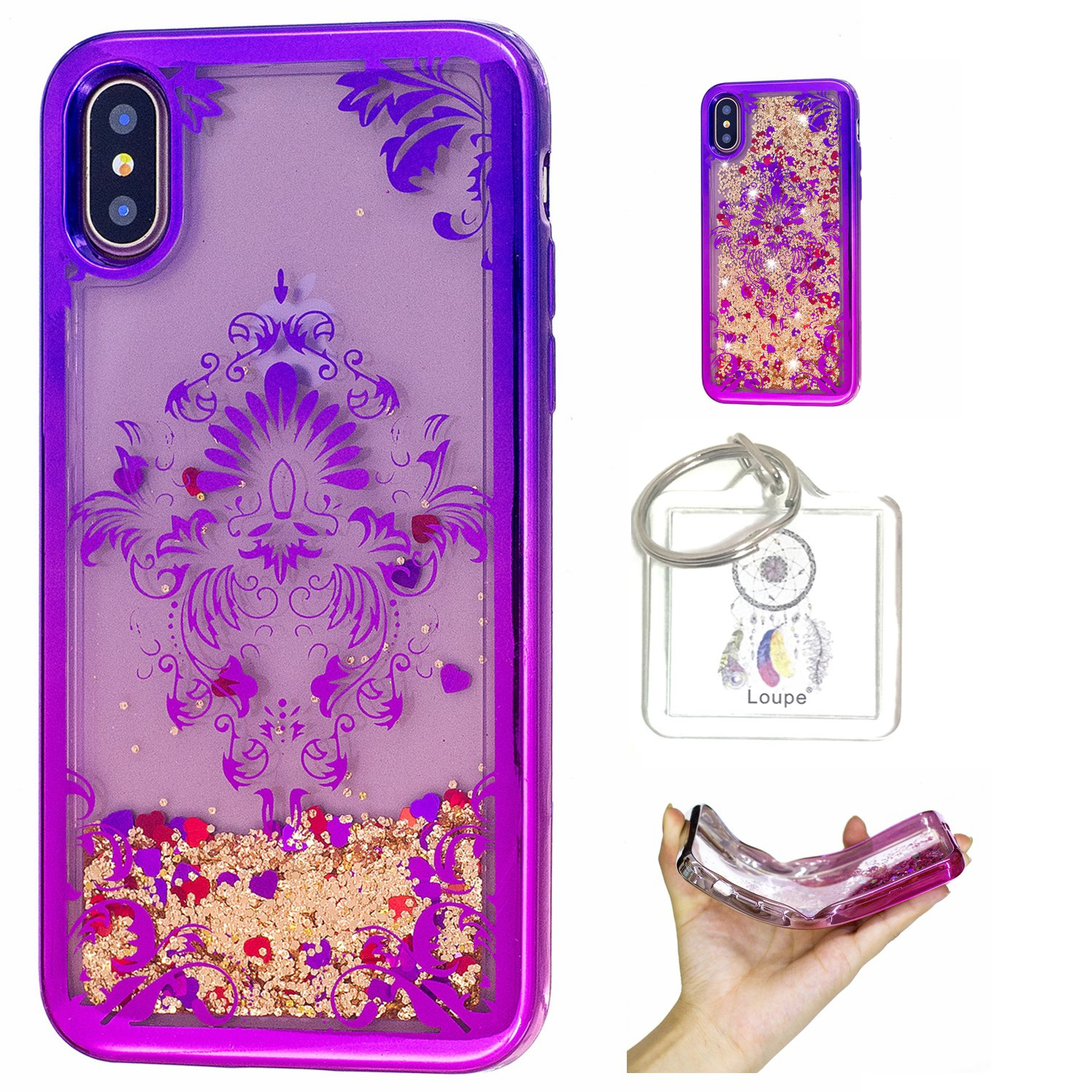 Coque iPhone X Coque Gel Transparent É tui de Protection en TPU Souple Silicone Liquide Bling Pé tillant Gratuit Paillettes Sables Mouvants + porte-clé s (R) Lohpe