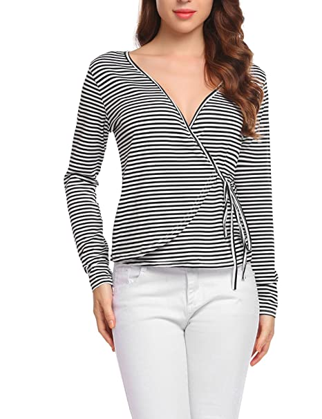 eefbc482f7c9a3 UNibelle Women Casual Faux Wrap Plunging Neck Long Sleeve Pullover ...