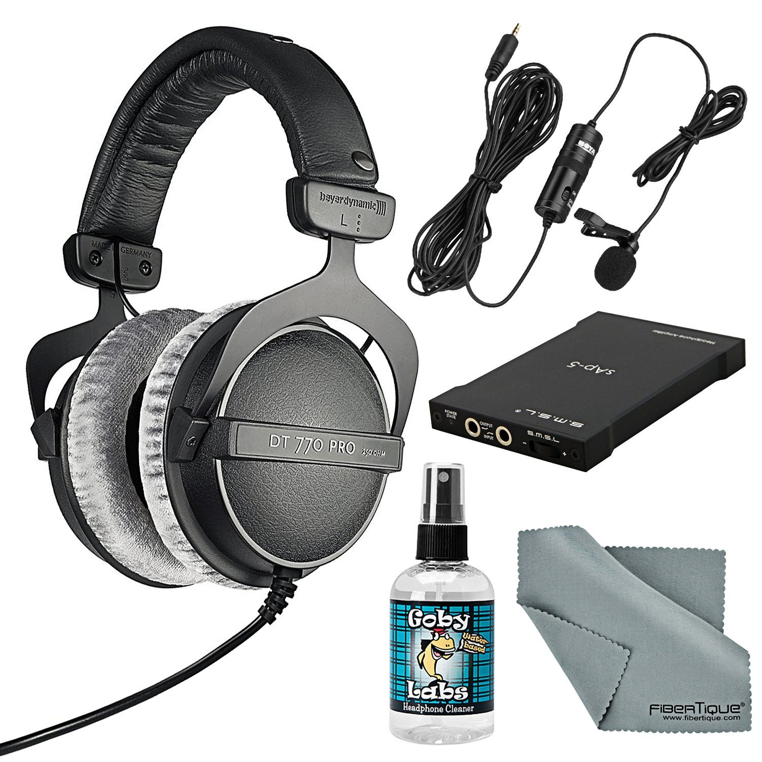 Beyerdynamic DT770 PRO 250 ohms Headphones with Amplifier, Cleaner, Lavalier Mic, and FiberTique Cleaning Cloth