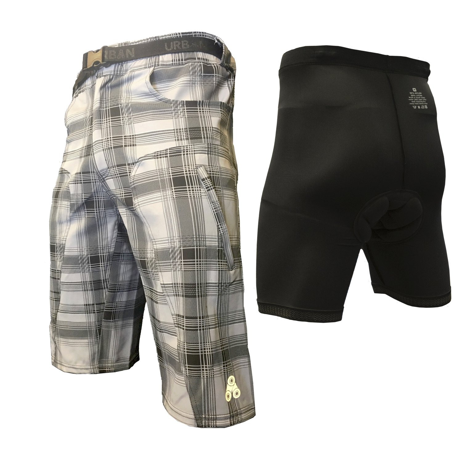 The Enduro - Men's MTB Off Road Cycling Shorts Bundle with ClickFast Padded Undershorts with Coolmax Technology (Small, Plaid) by Urban Cycling Apparel