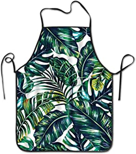 INTFULIHU Women and Men Banana Leaf Apron Kitchen Cooking and Apron for Cooking Grill Baking Hand Drawn Tropical Plants Apron